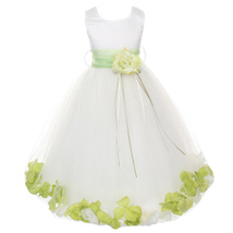 White Satin Bodice Layers Tulle Skirt Lime Green Flower Ribbon Brooch and Petals - $48.00