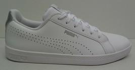 Puma Size 8.5 SMASH PERFORATED METALLIC White Leather Sneakers New Women... - $88.11