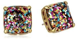 Kate Spade New York Multi Pink Gold Blue Glitter Brass Square Stud Earrings - $53.41