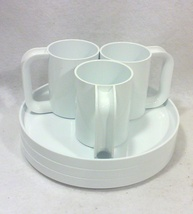 Mid-Century Massimo Vignelli Heller White Mugs and Plates-Set of Six - $60.00