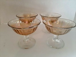 "(4) Iridescent Depression Glass Sherbets 3.5"" tall - $12.34"