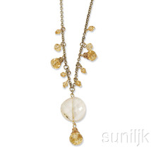 Gold-tone Light Colorado Glass Beads 16in w/ext Necklace - $19.60