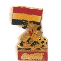 Coca Cola Netherlands World Cup 1994 Lapel Pin Flag Striker the Dog Soccer Ball - $13.99