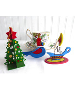 Wood Ornaments 3 Dimensional Bird Christmas Tree Candle 1970s Hand Made ... - $20.00