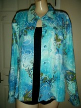 CATO TEAL COTTON EMBELLISHED SHIRT SIZE 22/24W - $16.44