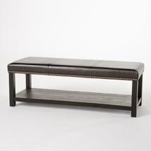 Leather Bench with Storage Shelf Hallway Entryway Shoe Rack Ottoman Furn... - £136.83 GBP