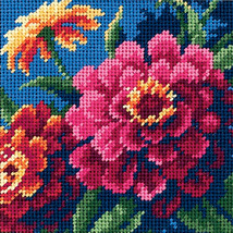 "Dimensions Mini Needlepoint Kit 5""X5""-Zinnias Stitched In Thread - $11.19"