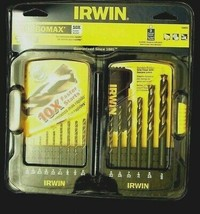 IRWIN 15 PIECE TURBOMAX DRILL BIT DRILLS STEEL WOOD PLASTIC BLACK AND GOLD - $20.99