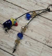 Toucan Blue Gold Crystal Beaded Handmade Purse Planner Charm Keychain Clip - $14.54