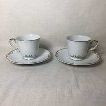 Style house Embassy Fine China Cups & Saucers Set of 2 Platinum Trim - $9.89