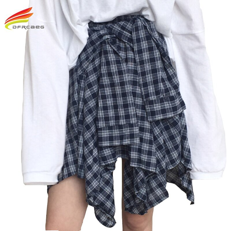 Asymmetrical Plaid Skirt Woman 2018 Spring New Fashion Casual Skirts Womens Loli