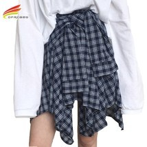 Asymmetrical Plaid Skirt Woman 2018 Spring New Fashion Casual Skirts Womens Loli image 1