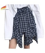 Asymmetrical Plaid Skirt Woman 2018 Spring New Fashion Casual Skirts Wom... - $381,69 MXN