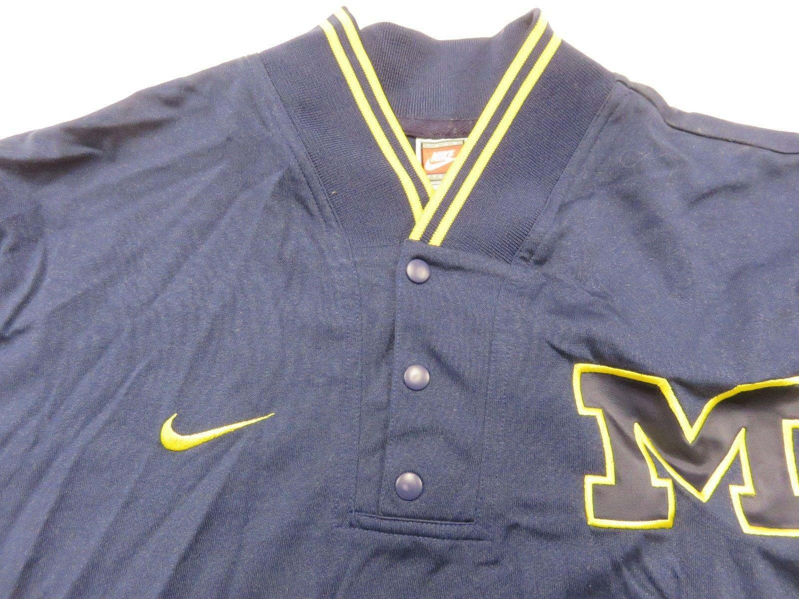 f9aef166a49007 NWT Michigan Wolverines Men s Blue 1 4 Button Warm Up Pullover Shirt Men s  Sz LG