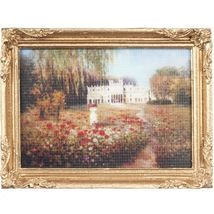 DOLLHOUSE Framed Picture White Mansion in Garden Miniature - $7.52