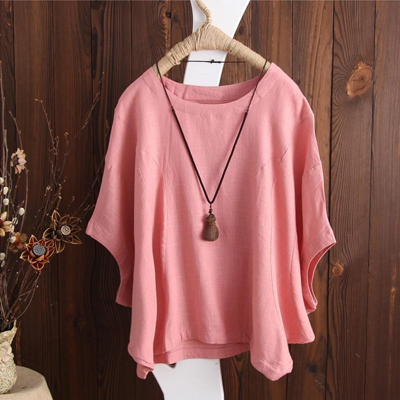 ZANZEA Women Casual Retro O Neck Short Batwing Sleeve Loose Blouse 2018 Summer F