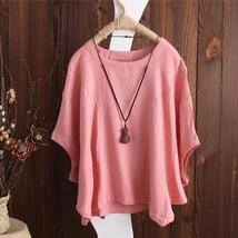 ZANZEA Women Casual Retro O Neck Short Batwing Sleeve Loose Blouse 2018 Summer F - $28.83+