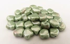 20 7.5 x 7.5 mm Czech Glass Matubo Ginkgo Leaf Beads: Luster - Chalk Light Green - $1.56