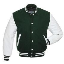 Varsity Letterman bomber jacket-FOREST GREEN Wool Body, WHITE Leather Sl... - $89.99+