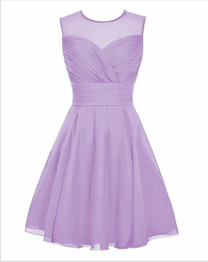 Sheer Neck Sexy Lavender Chiffon Short Homecoming Dress 2018 Girls Pageant Gowns