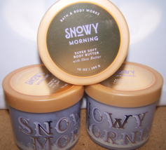 3 Bath & Body Works Snowy Morning Super Soft Body Butter Bergamot Mistletoe - $37.50
