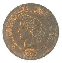 1887 France 5 Centimes Coin Red/Brown KM#821.1 - $49.50