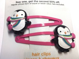 Gymboree Crazy 8 Penguin W/ Scarf Pink Black Cutie Barrette Clip Snap Used Girl - $9.95
