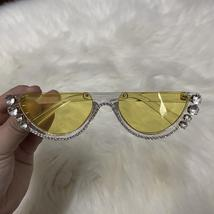 2021 Crystal  trendy half frame rimless cat eye sunglasses Sun glasses Womens su image 3