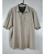 Wrangler Mens Button Up Shirt Size XXL Khaki Short Sleeve Vented Outdoor... - $29.88
