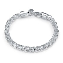 Silver Rolo Link Chain Toggle Charm Bracelet Womens Jewelry - $9.79