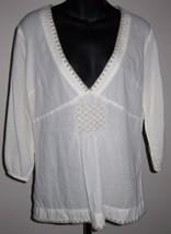 Sz M Eddie Bauer Cotton Gauze Blouse Peasant Top Long Sleeved Natural Smocked - $25.24
