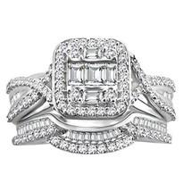 1 Ct Round Baguette Sterling Silver Natural Diamond Halo Engagement Bridal Set - $511.19