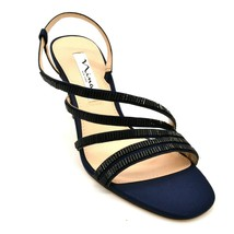 Nina New York Womens Sparkle Strappy Slingback Heels Size 8.5M  Navy Leather NEW - $34.64
