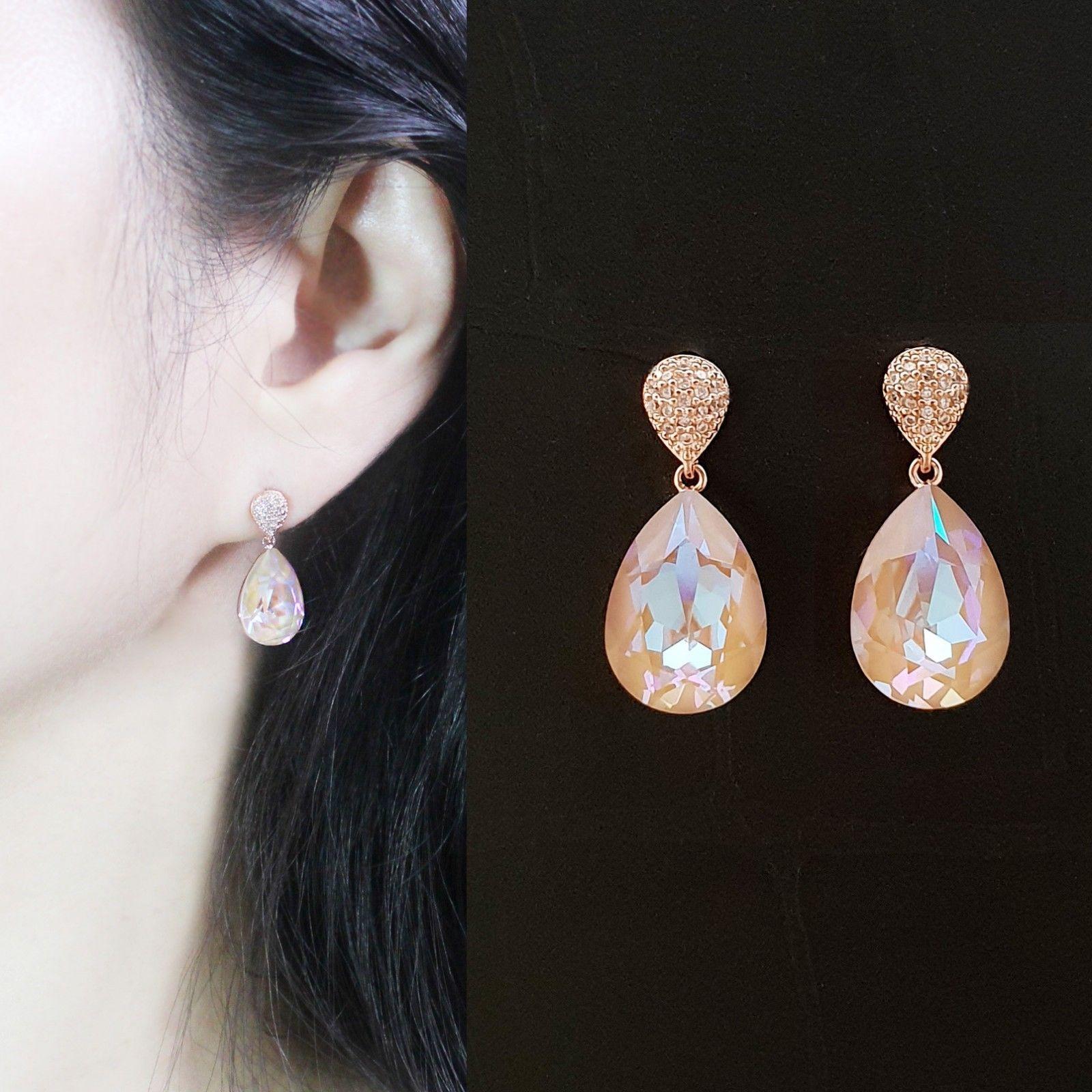 Water Drop Aurora Borealis Made With Swarovski Stone Dangle Earrings 925 Silver