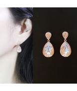 Water Drop Aurora Borealis Made With Swarovski Stone Dangle Earrings 925... - $30.84