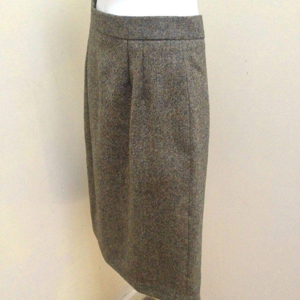 Kilkenny S Skirt Green Beige Tweed Pure Wool Pencil Career Made in Ireland image 3