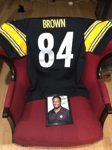 low priced b6615 89655 Hand Signed ON FIELD PITTSBURGH STEELERS ANTONIO BROWN JERSEY 48 XL + Photo