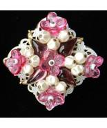 Vintage pin brooch signed West Germany Lucite flowers white glass bead cap - $15.00