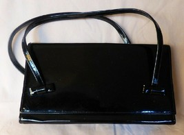 Vintage 1960s Black Patent Leather Dressy Handbag Tuxedo Bow Handle Atta... - $35.00