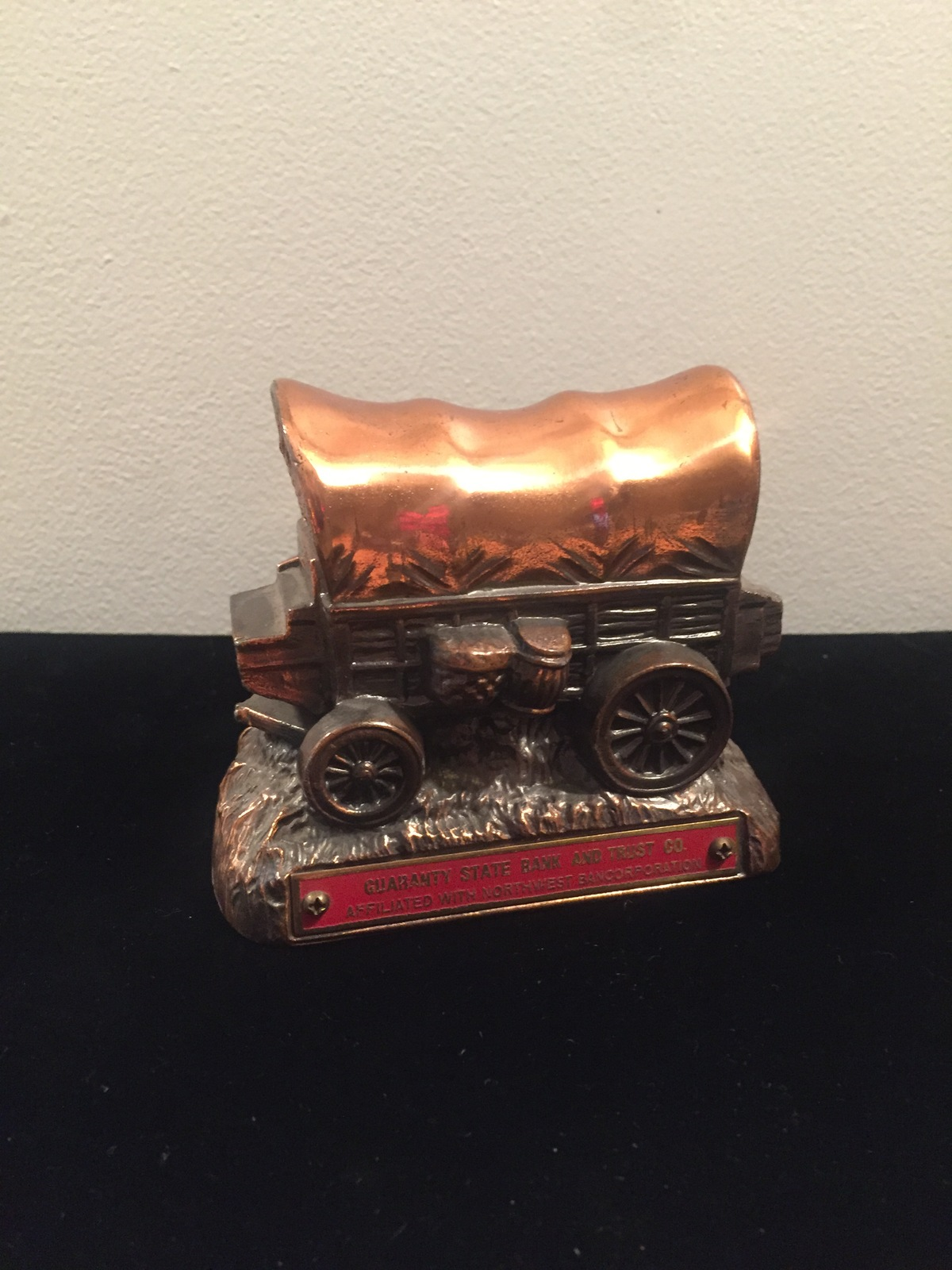 Vintage 50s Banthrico Cast Iron Stagecoach Bank, Guaranty State Bank