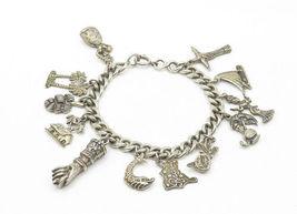 925 Sterling Silver - Vintage Assorted Charm Curb Link Chain Bracelet - B6326 image 3