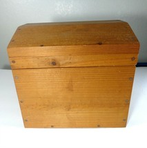 """Handmade Wooden Chest Box Hinged w Handles 10"""" x 10.5"""" x 10"""" Domed Lid - $34.65"""
