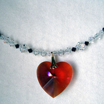Bordeaux Heart Pendant with Crystal Strand image 1