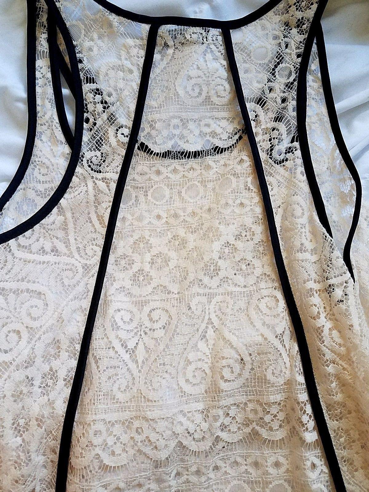 Cream Lace Tank Top Asymmetrical Hemline Black Pipping Sleeveless Size Med