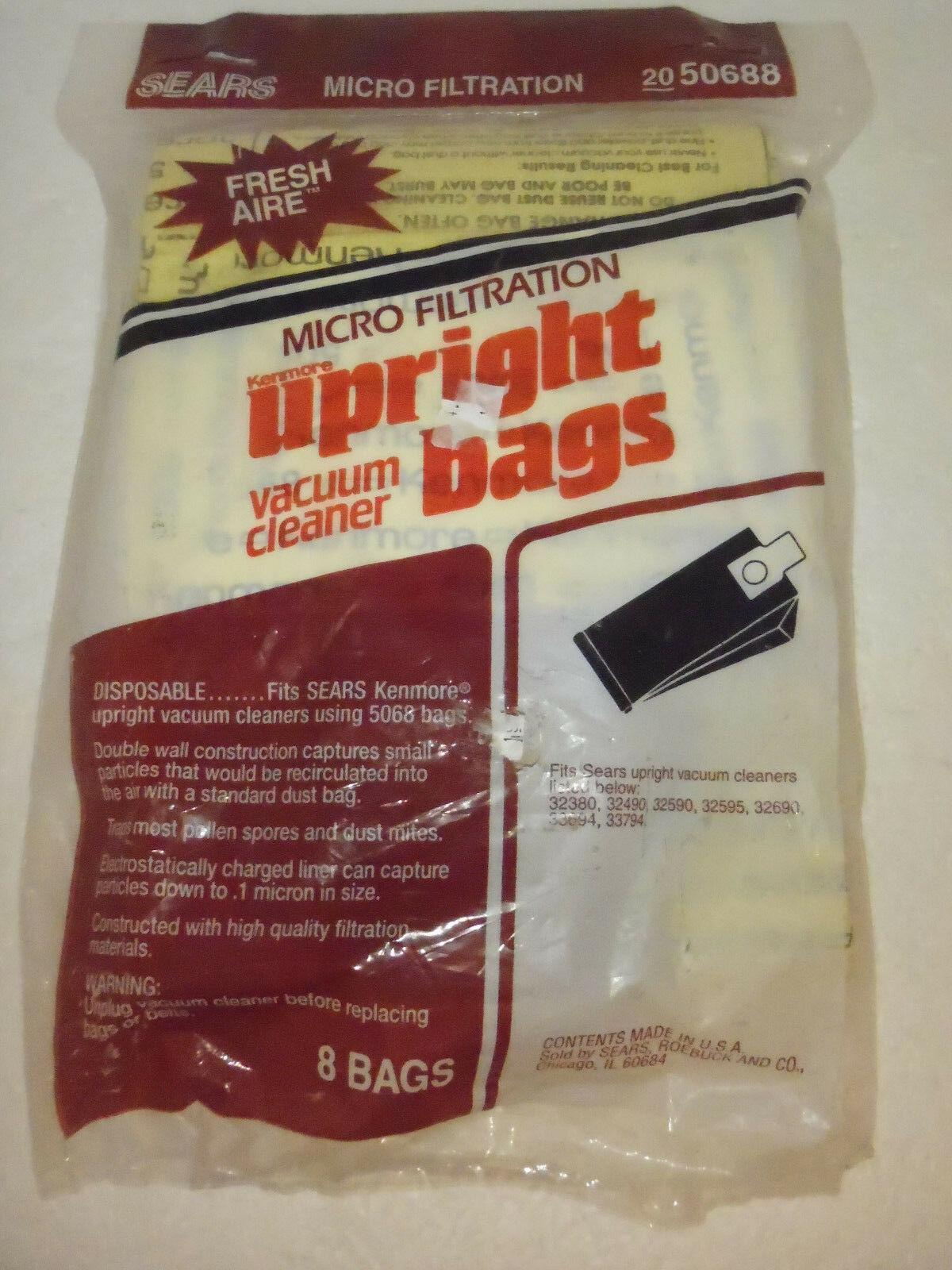 8 NEW ORIGINAL SEARS KENMORE VACUUM CLEANER BAGS 20-50688