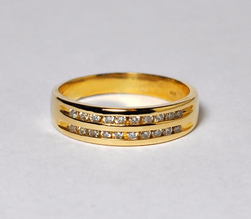 Custom Channel Set Diamond Wedding Band Ring Women 14K Yellow Gold Two Rows