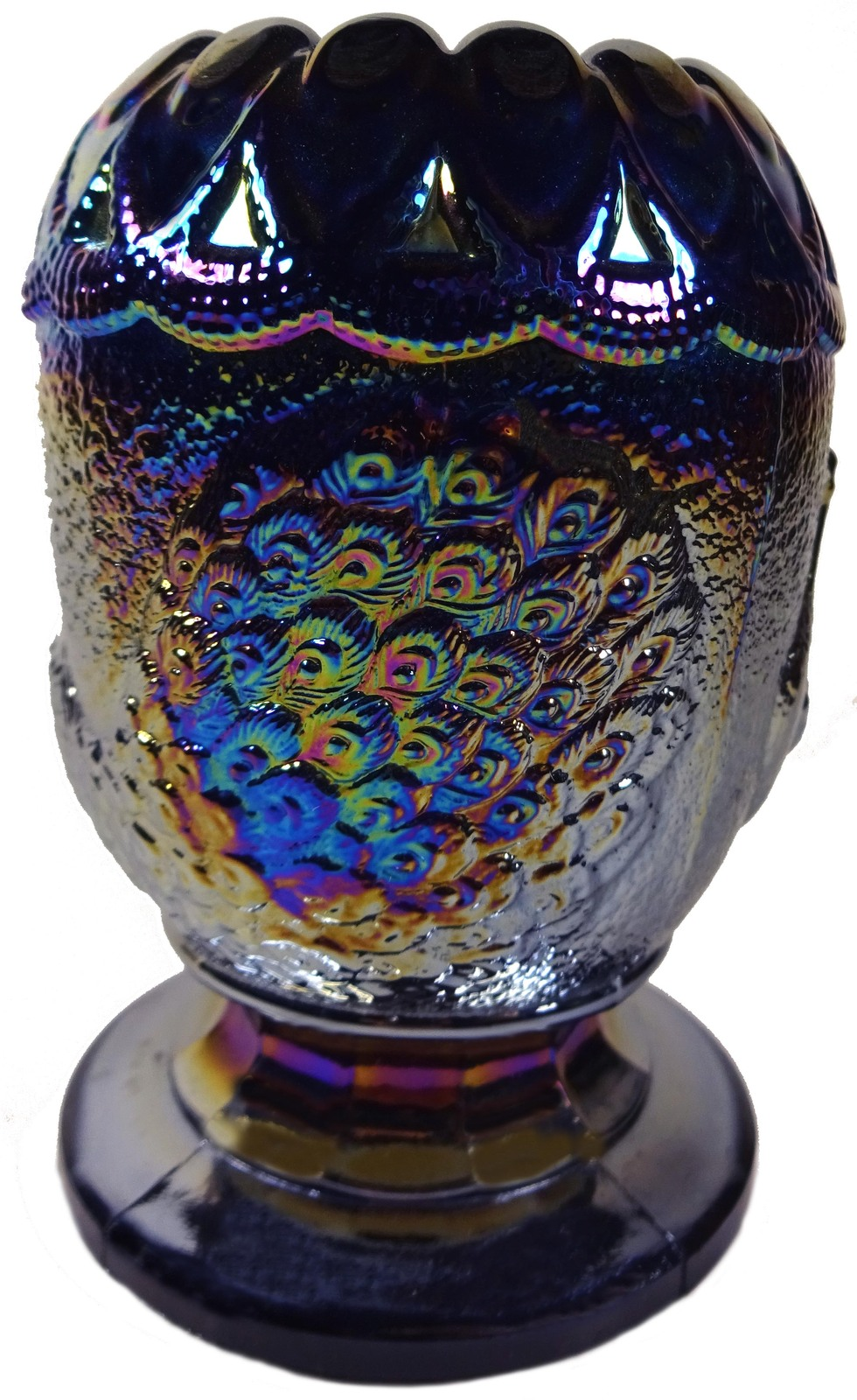 """1970s Westmoreland Purple Carnival Glass Peacock Pattern 4"""" Cupped Rim Rose Bowl image 2"""