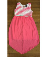 * Pink & Violet coral pink white stripe dress extra large 14 - 16 girl - $8.42