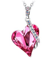 Valentines Day Gifts For Her Necklace Rose Swar Crystal Pendant Women Gi... - $51.26