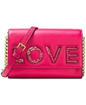MICHAEL Kors Hot Pink Leather LOVE Ruby Clutch Crossbody Bag  & Love Charm - $90.88